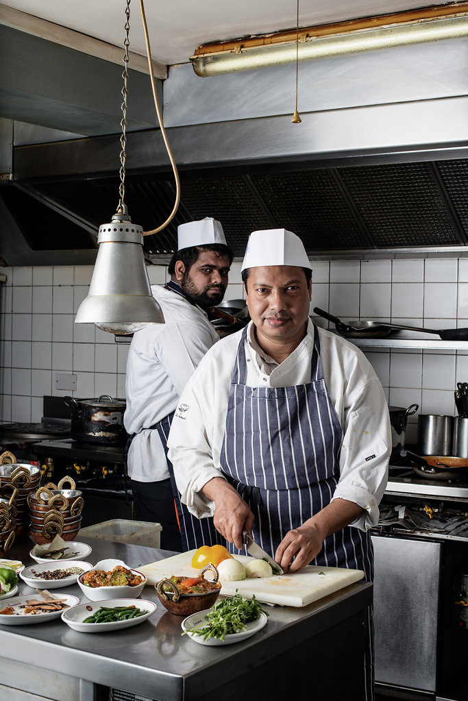 MD Shiraz Miah (with Syed Shoaib Al Sami) photographed in the kitchens of Dorking Brasserie