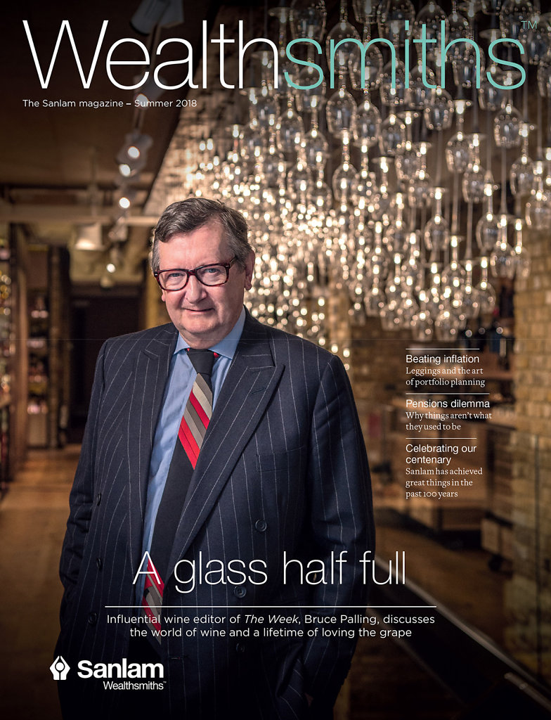 Bruce Palling photographed in Hedonism Wines for Wealthsmiths Magazine